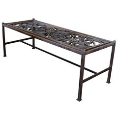 Glass Top Cocktail Table Made from 18th Century Portuguese Iron Gate
