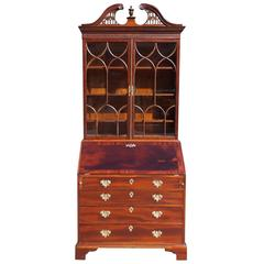English Chippendale Mahogany Slant Top Secretary with Bookcase, Circa 1765