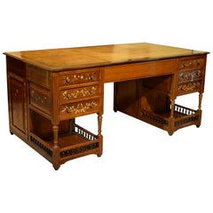19th Century Anglo-Indian Hardwood Partners Desk