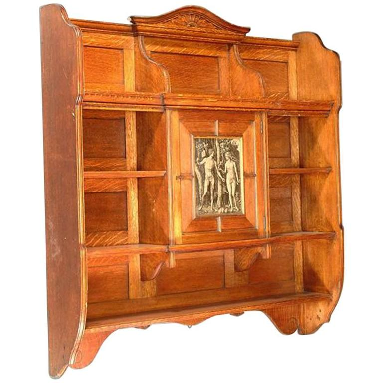 Arts and Crafts Oak Wall Hanging Bookcase Attributed to B Talbert