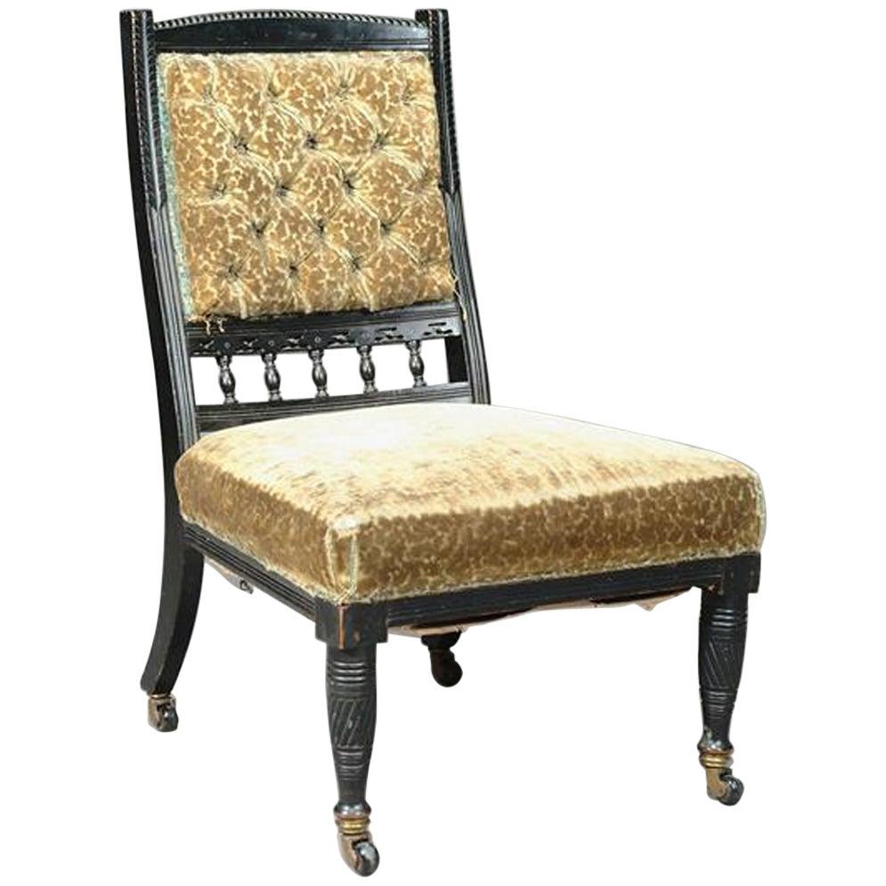 Bruce Talbert for Gillow & Co,. Aesthetic Movement Ebonized Nursing Chair