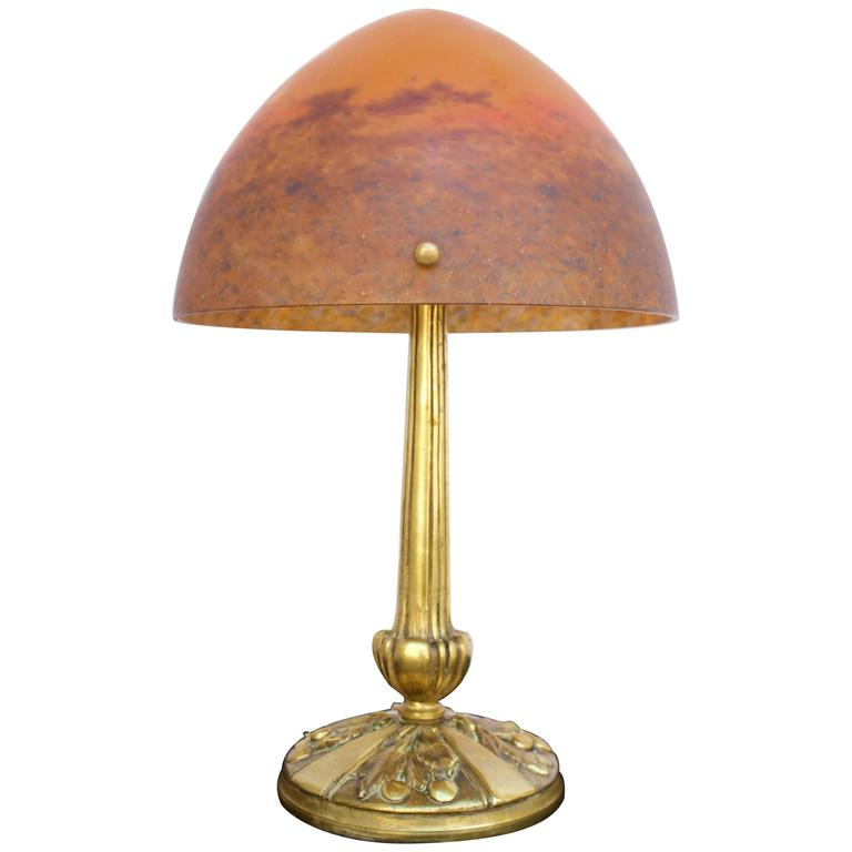 Art Deco Table Lamp Signed Muller Freres Luneville