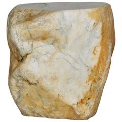 Stool in White Japanese Marble