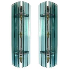 Veca Mid-Century Modern Pair of Italian Glass Sconces