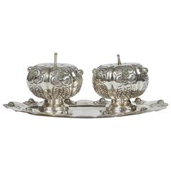 Vintage Taxco Mexico Silver Salt and Pepper Set