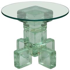Mid-Century Modern Imperial Imagineering Sculptural Solid Glass Block Side Table