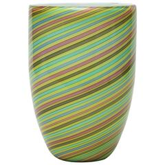 Collectors Mid-Century Modern Italian Murano Glass Cenedese Mezza Filigrana Vase