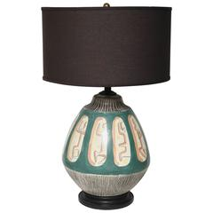 Mid-Century Modern Italian Hand-Painted Ceramic Table Lamp Fantoni / Weinberg