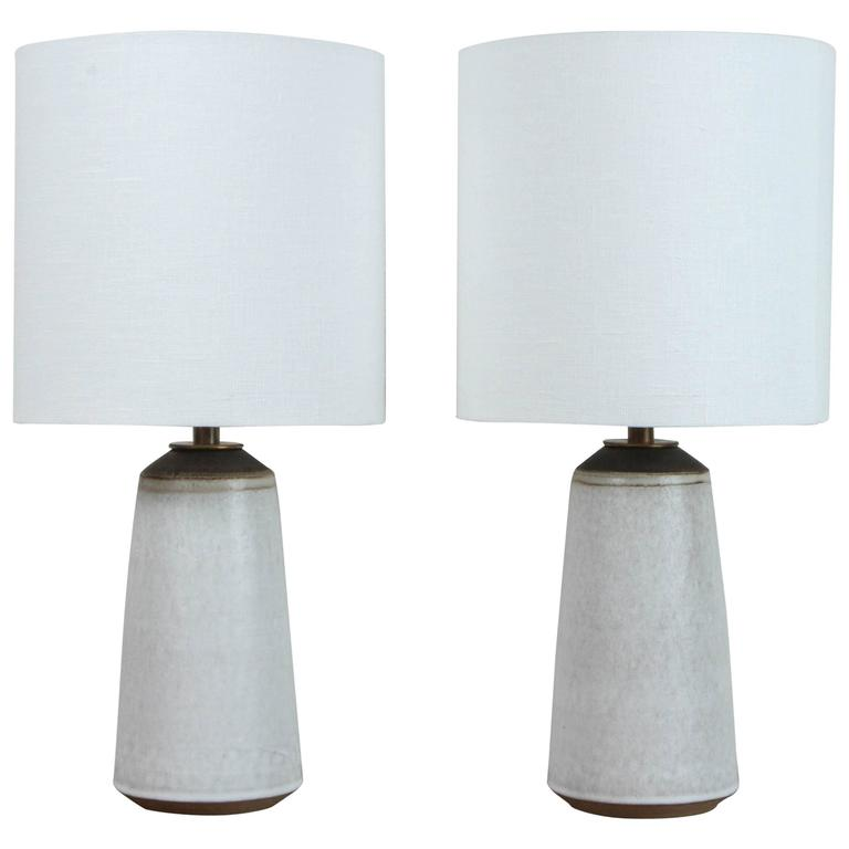 Pair of Birch White with Bronze Stripe Ceramic Table Lamp by Victoria Morris