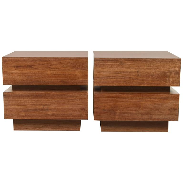Pair of Small Stacked Box Nightstands by Lawson-Fenning