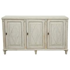 Antique Swedish Gustavian Style Painted Three-Door Sideboard Late 19th Century