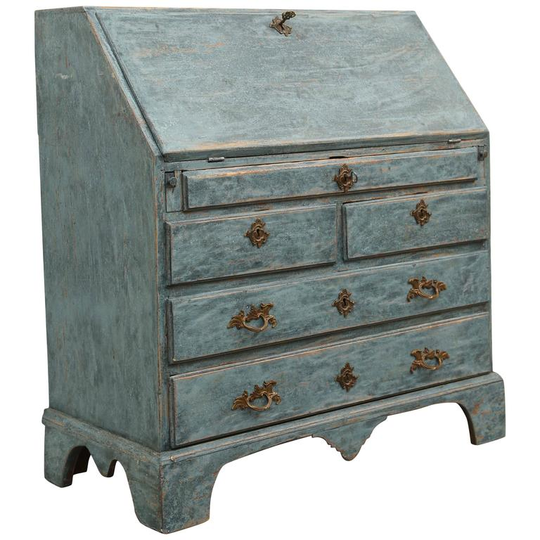 Antique Swedish Blue Slant Front Secretary Desk Early 19th Century For