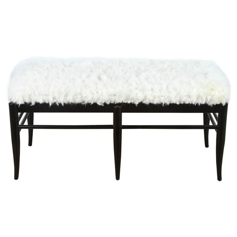 Gio Ponti Inspired Bench in Natural Sheepskin For Sale