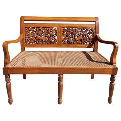Caribbean Kings Wood Carved Foliage and Animal Cane Settee, Circa 1830