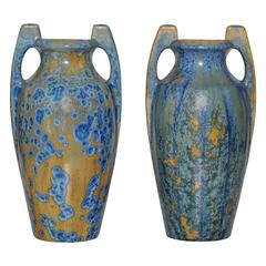 Large Pair of Spectacular French Art Nouveau Crystalline Glaze Blue Antique Pots