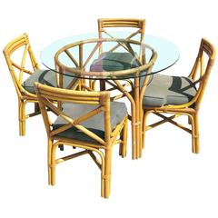Mid-Century Rattan Table with Chairs Dining Set