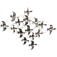 Vintage Modern Birds in Flight C. Jere Style Wall Art