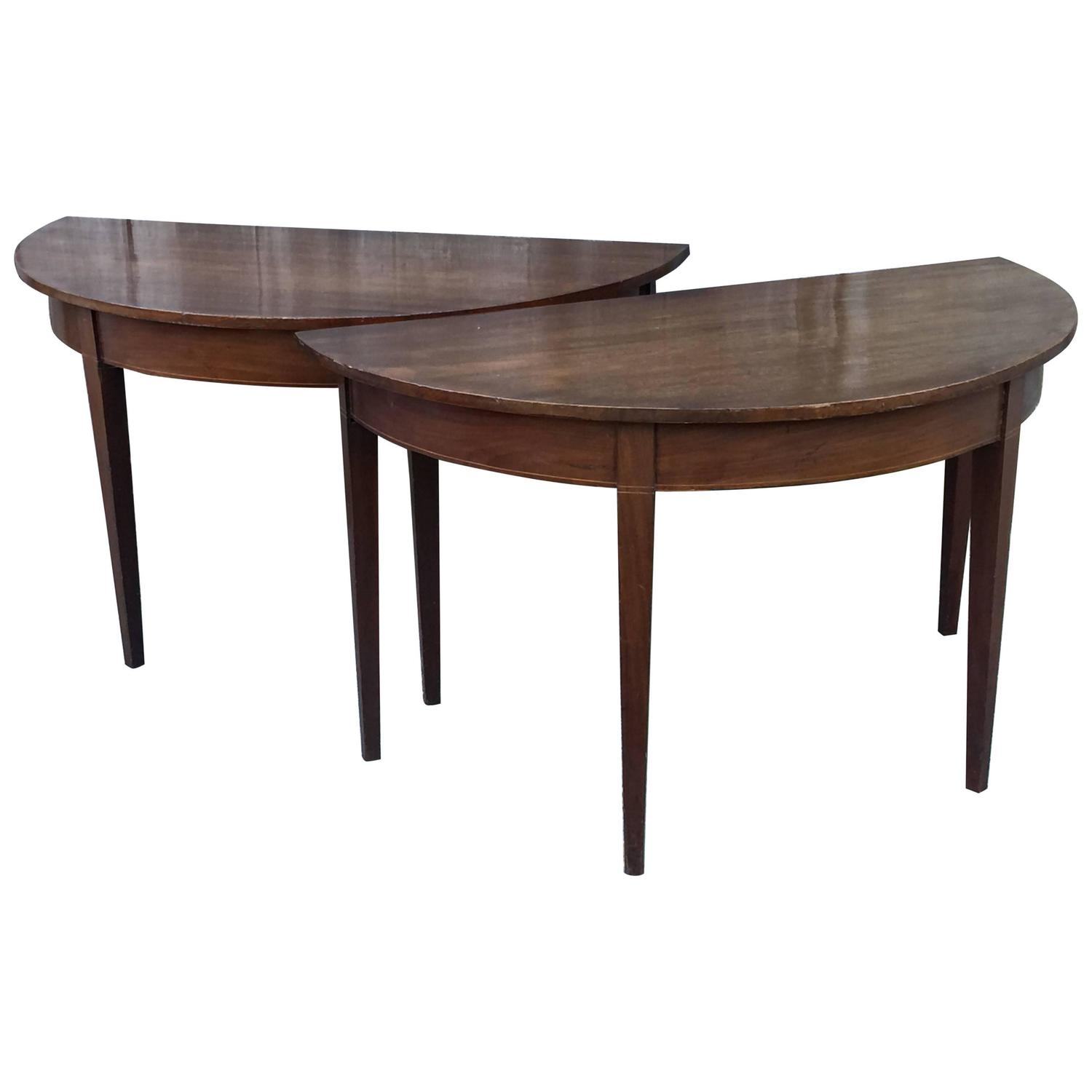 pair of english demi lune tables for sale at 1stdibs
