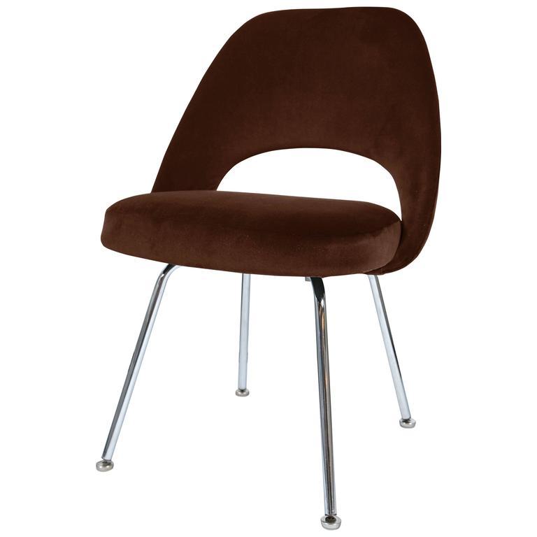 Saarinen Executive Armless Chair in Espresso Velvet