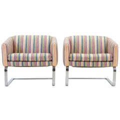 Pair of Milo Baughman Style Chrome Frame Club Chairs or Barrel Chairs by Selig