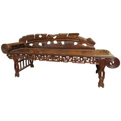 Unusual Antique Asian Carved Hardwood Scroll Arm Chaise
