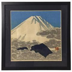 "Okiie Hashimoto Limited Edition Woodblock Print ""Mount Fuji Spring"""
