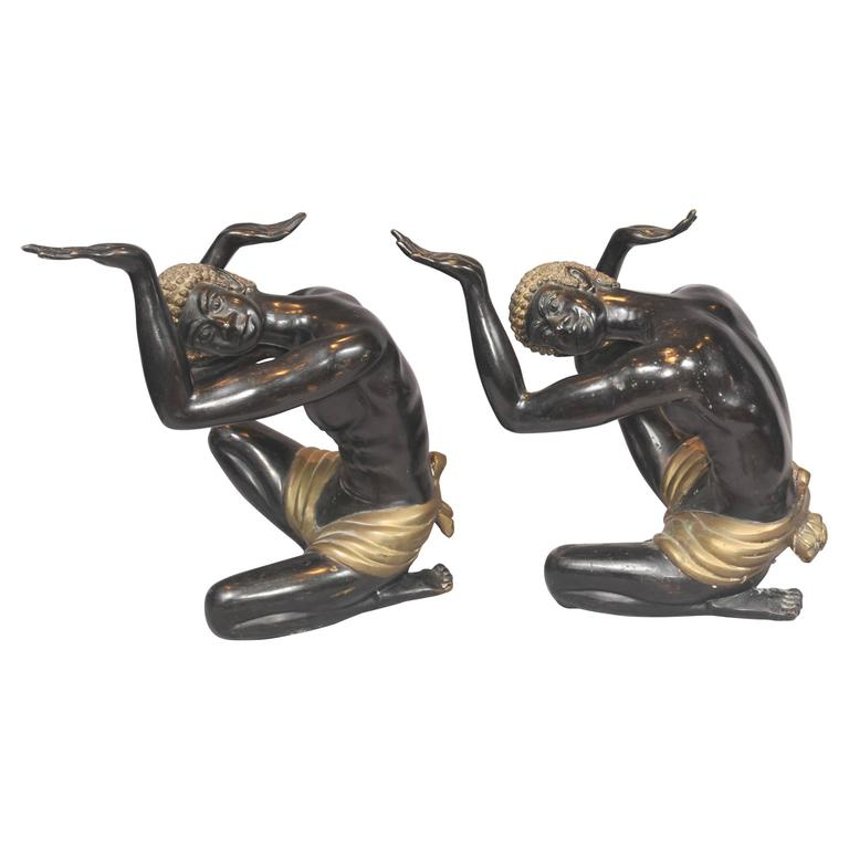 Pair Of Bronze Blackamoor Statues Coffee Table Supports At