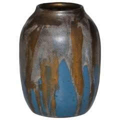 Leon Pointu French Art Pottery Bronze and Turquoise Vase