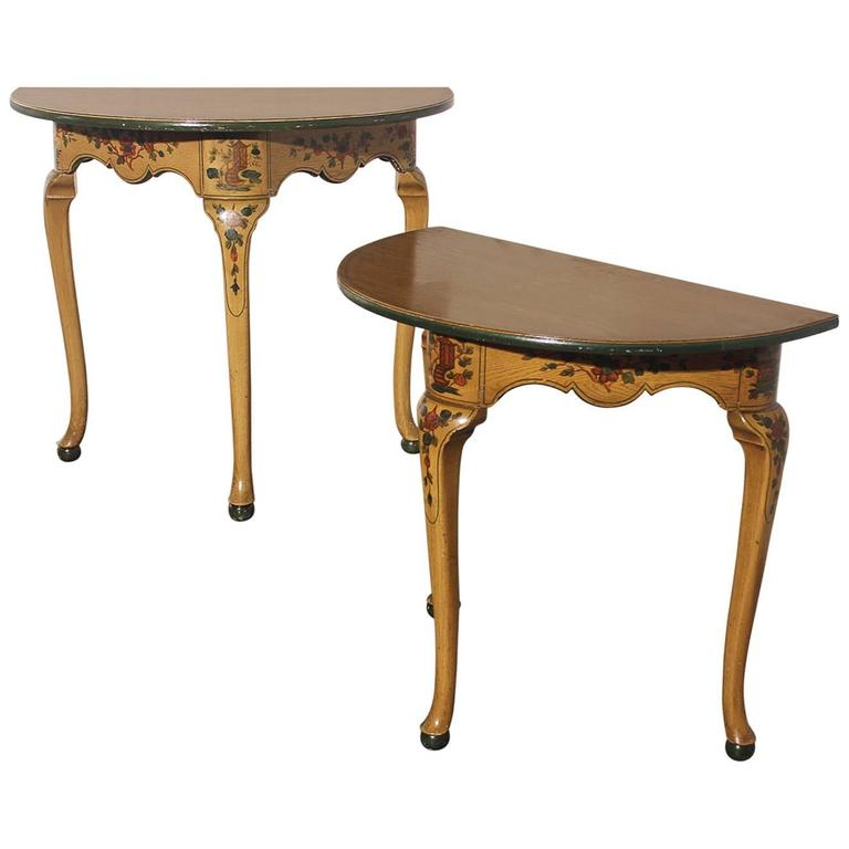 Genial Pair Of Antique Chinoiserie Hand Painted Demilune Console Tables For Sale