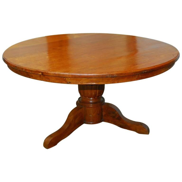 Hand Carved Solid Teak Round Pedestal Dining Table For