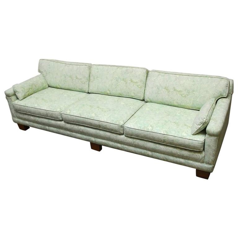 Mid Century Modern Sofa Upholstered In Fortuny Style Fabric For Sale