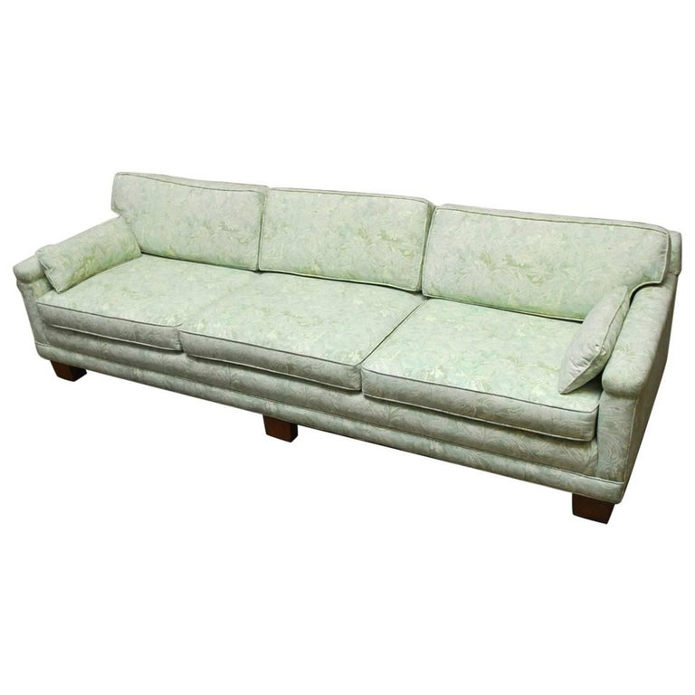 Mid-Century Modern Sofa Upholstered in Fortuny Style Fabric For Sale