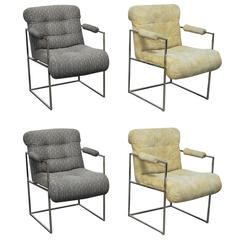 Set of Four Chrome Armchairs by Milo Baughman for Thayer Coggin