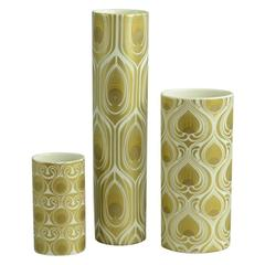 Three Porcelain Vases with Gold Decoration by Bjorn Wiinblad for Rosenthal