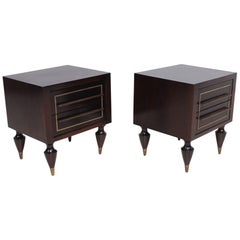 Fine Mexican Modernism Mahogany & Brass Nightstands Exceptional Legs by Escudero