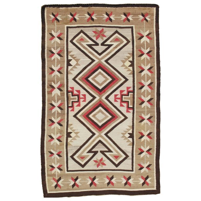 Antique Navajo Rug, Wool Oriental Rug, Beige Handmade Rug