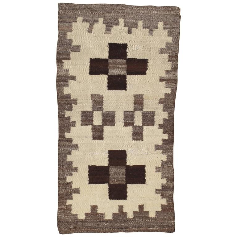 Antique Navajo Rug, Wool Beige Oriental Rug, Handmade