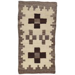 Antique Navajo Rug, Wool Beige Oriental Rug, Handmade Navajo Rug