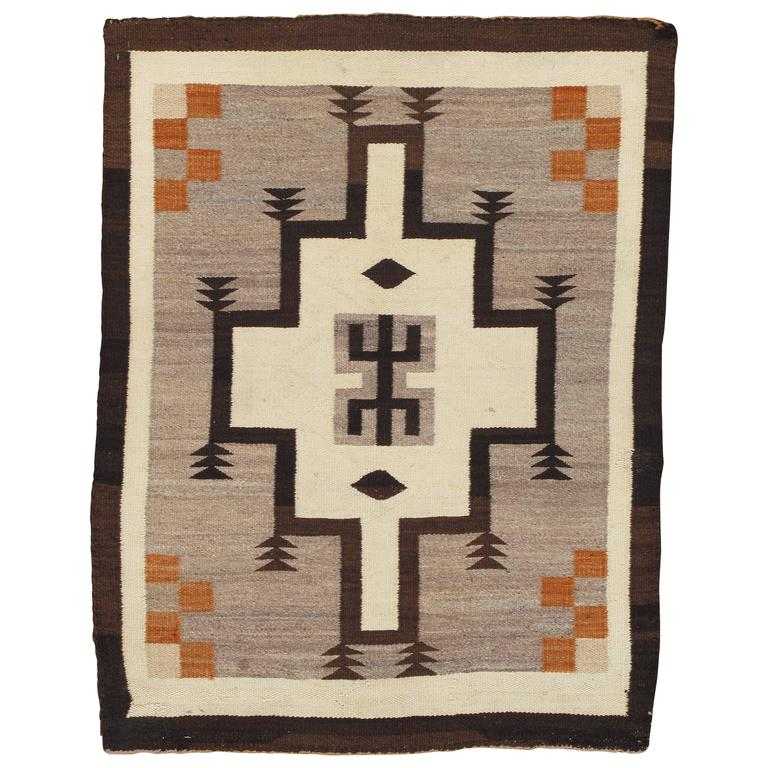 Antique Navajo Rug, Handmade Wool Oriental Rug, Beige And