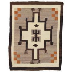 Antique Navajo Rug, Handmade Wool Oriental Rug, Beige and Brown