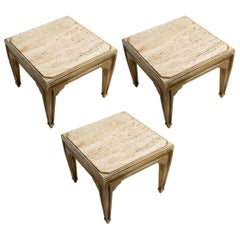 Italian Travertine and Silvered Wood Side Tables