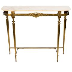 Italian Brass and Marble Console Table