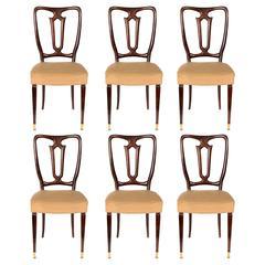 Set of Six Italian Mahogany Dining Chairs