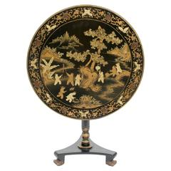 Chinese Chinoiserie Tilt-Top Table