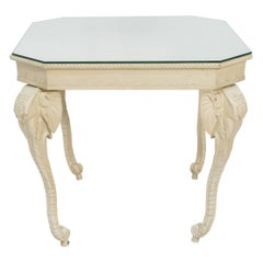 Carved Painted Elephant Occasional Table