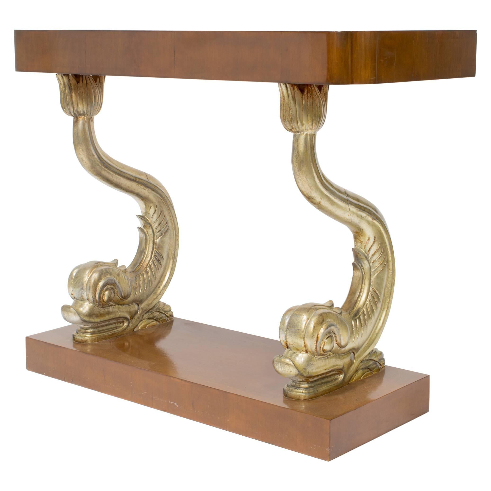 1940s Silvered Dolphin Console Table