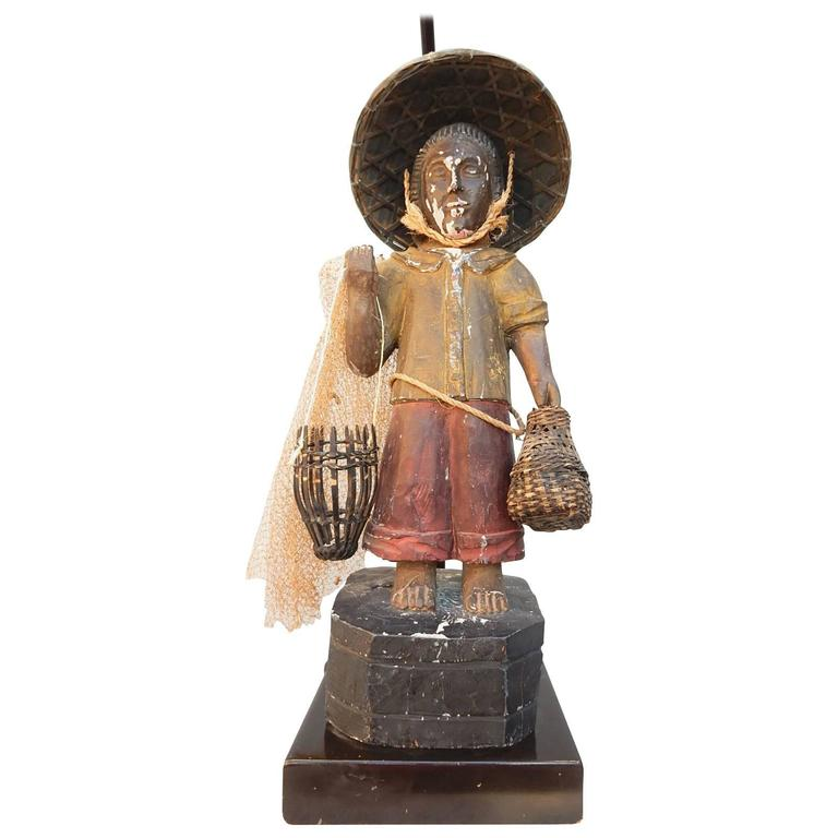 "Original 1940s Paul Laszlo Design ""Fisherman"" Sculpture Table Lamp"