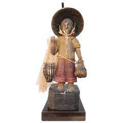"Original 1940s Paul Laszlo Design ""Fisherman"" Sculpture Table Lamp"