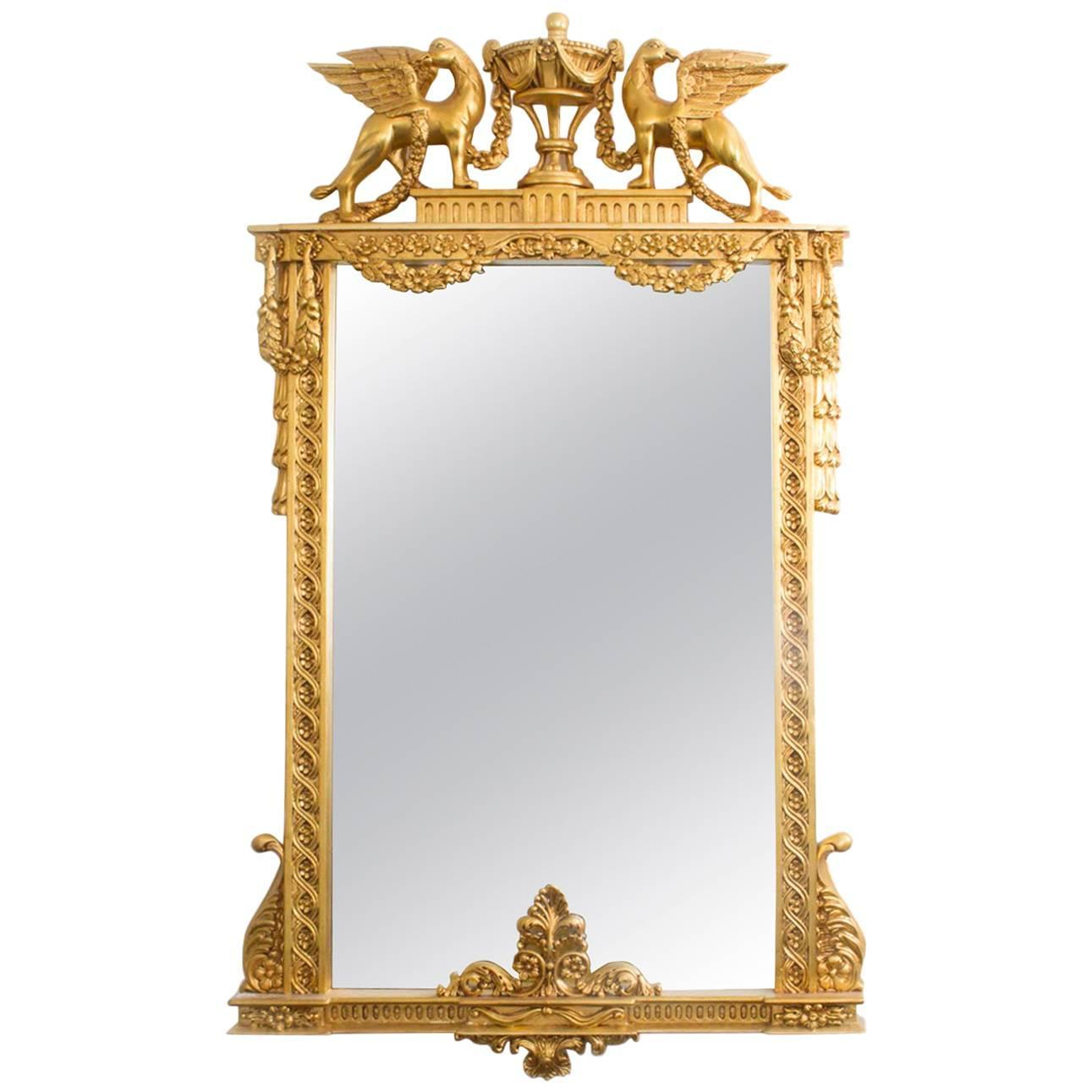 Beautiful decorative swedish carved giltwood mirror for for Decorative floor length mirrors