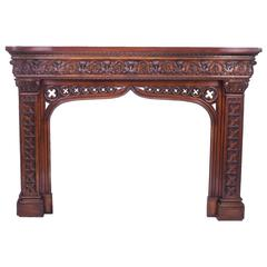 Early 20th Century Neo Gothic Carved Mahogany Chimney Piece